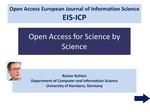 European Information Science (EIS): Informationelle Mehrwerte für eine Informations- und Kommunikationsplattform der Informationswissenschaft