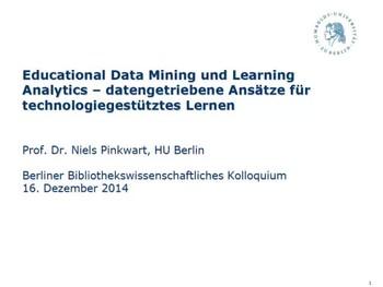 Educational Data Mining und Learning Analytics – datengetriebene Ansätze für technologiegestütztes Lernen
