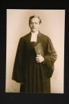 Young missionary Hoffmann in church gown and book