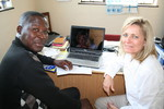 Dr Annekie Joubert visiting Rev Michael Matsimbi at Masealama mission station