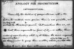 Apology for Pragmatism