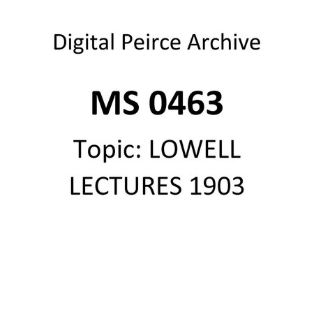 Lowell Lectures of 1903. Lecture III. 2nd Draught