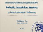 12. Recht & Informatik - Einführung